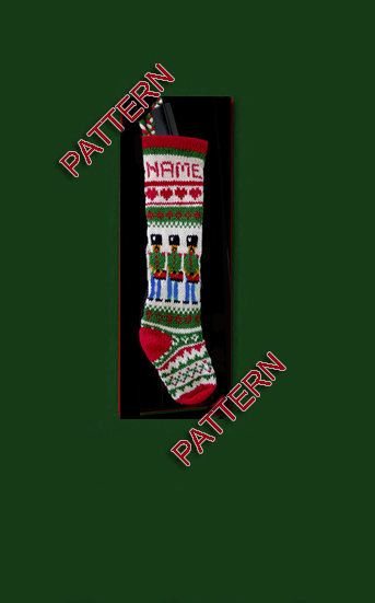 This sale has one pattern for hand knit Christmas stocking. The nutcracker drummer, snowflake, heart and other traditional patterns. Both sides have the same patterns and colors. Measurement: 22 tall and 6 wide at the top. Colors: green, red, white and some blue and black. Please