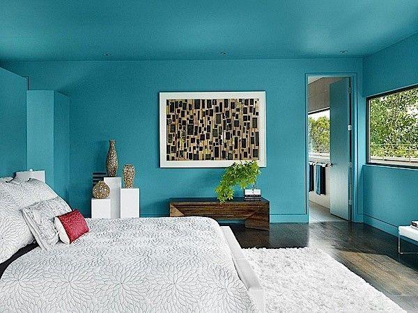 warna cat biru dinding kamar tidur utama