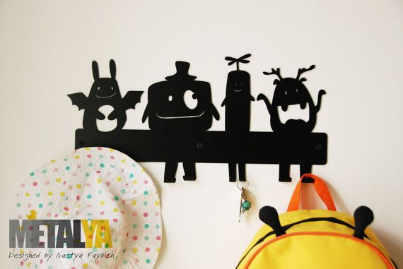 Monsters Coat Rack kids room coat hooks wall coat rack by Metalya