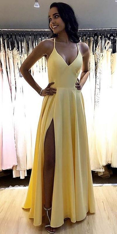 Simple Long Spaghetti Straps Prom Dresses Fahion Long Side Slit School Dance Dresses Custom Made Long Yellow Evening Party Dress from PeachGirlDress