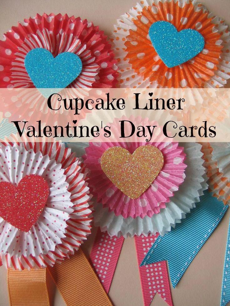 Valentine's Day Craft: Cupcake Liner Cards #valentines Day #DIY http://www.2littledollzdeals.com/valentines-day-craft-cupcake-liner-cards/