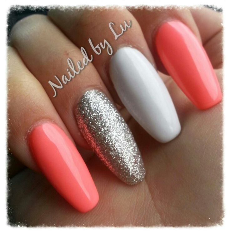 Squareletto / ballerina / coffin acrylic nails.... spring coral, white and sterling silver gel polish