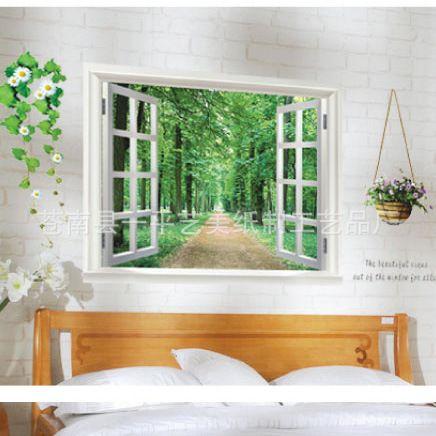 Envío libre que casa la tercera generación de el paisaje de la ruta arbolada falsas ventanas pueden quitar pegatinas de pared