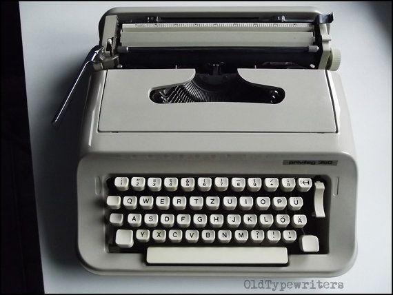 Vintage Grey Manual Typewriter PRIVILEG 350. by OldTypewriters