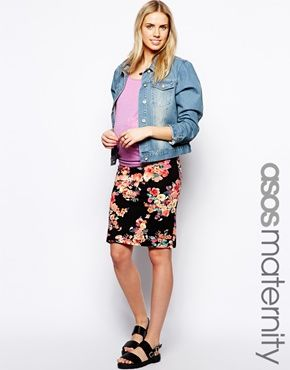 ASOS Maternity Pencil Skirt In Bright Floral