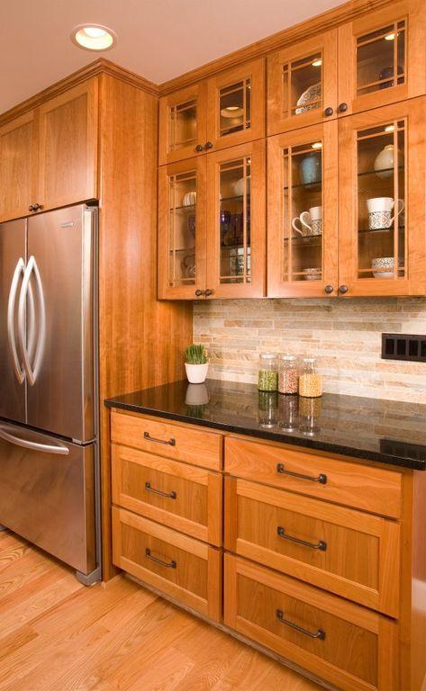 Craftsman Kitchen with LG LFC25760ST Refrigerator, One-wall, Soapstone counters, Flush, Premium Black Granite Countertop