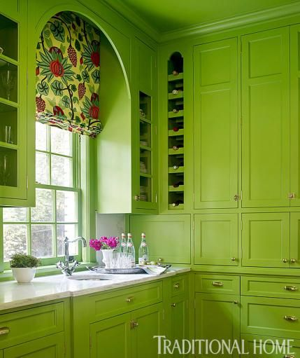 "We're seeing green in this Butler's Pantry painted in @Benjamin Moore's ""Rosemary Green.""  - Traditional Home ® / Photo: Lisa Mowry / Design: Katie Rosenfeld"