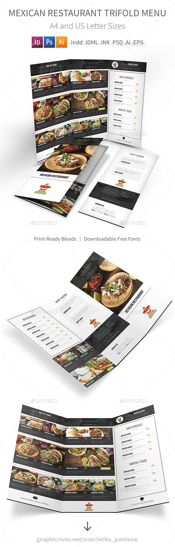 Best Trifold Restaurant Menu Template Images On Pinterest - Folded menu template