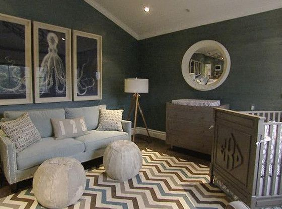 "Giuliana & Bill Rancic - ""The Duke's"" nursery is amazing. Love the wall color and subtle nautical theme."