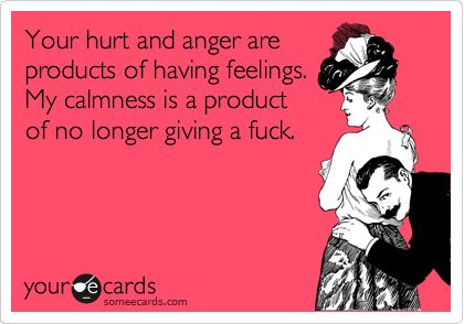 Your hurt and anger are products of having feelings. My calmness is a product of no longer giving a fuck.: Ecards Ecards Ecards, Funny Confessions, Funny Cards, Funnies, Confessions Ecards, Someecards Com