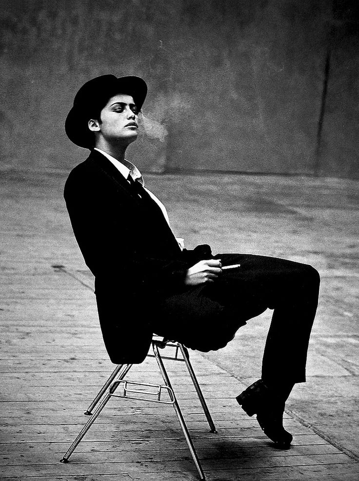 Marion Cotillard by Peter Lindbergh: black white photography, suit and hat
