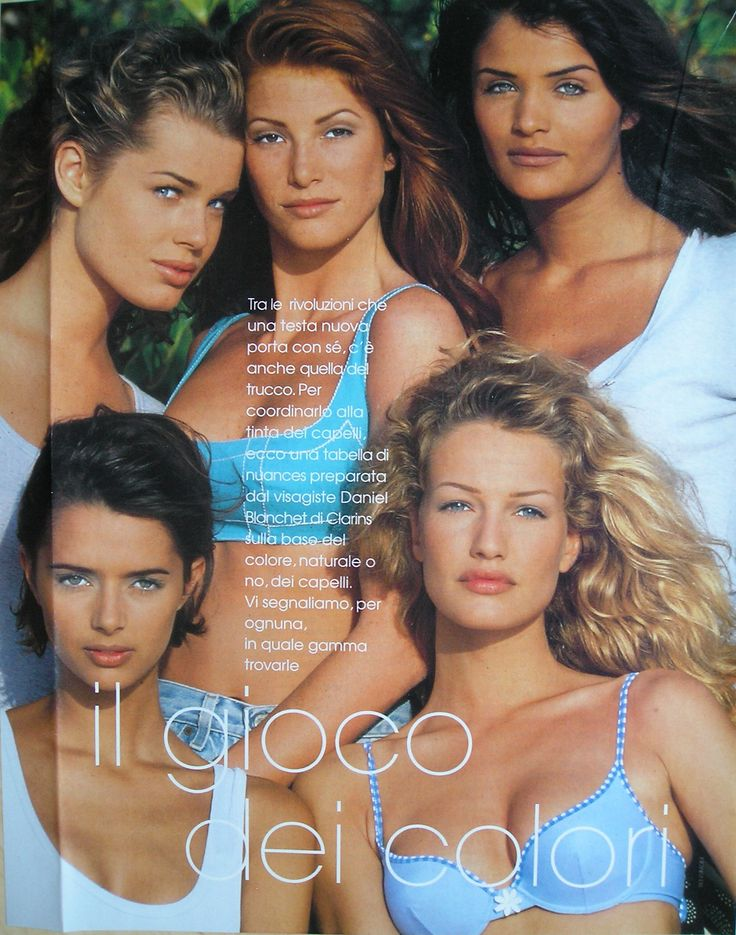 """il gioco dei colori"" (with Helena Christensen, Rebecca Romijn, Angie Everhart, Heather Stewart-Whyte and Karen Mulder) - Italian ELLE May 1996. Photo by Gilles Bensimon"
