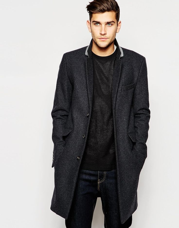 Wool Overcoat In Dark Grey