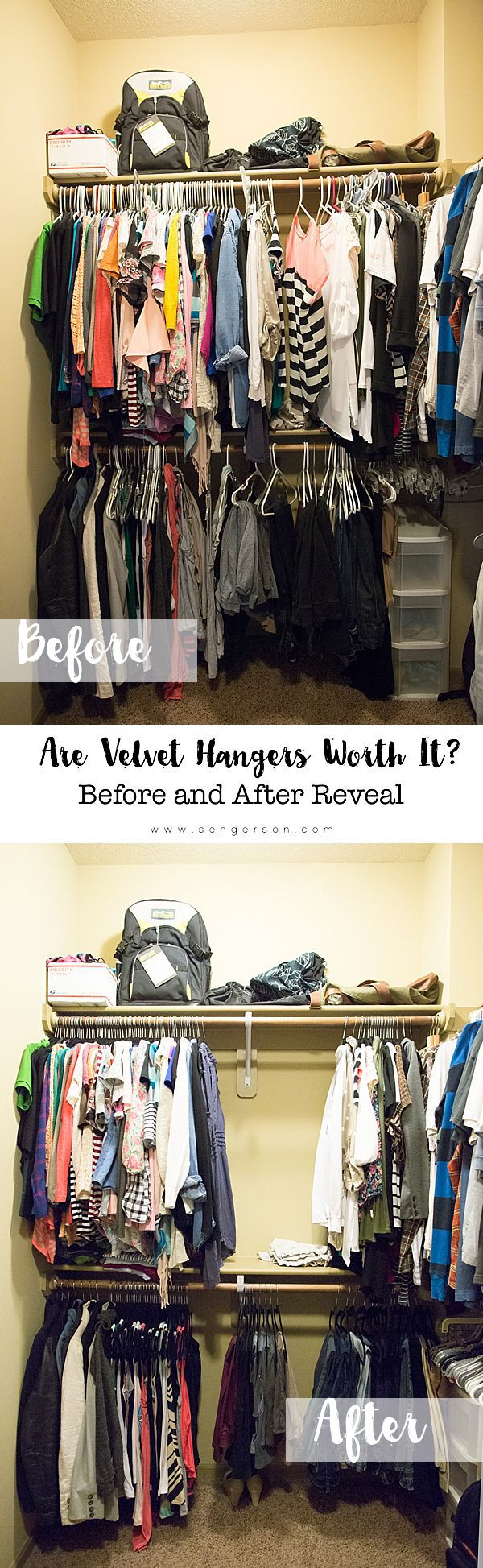 Awesome products to organize your closet for a great start to the day by actually seeing everything in your wardrobe. Awesome review of before and after using velvet hangers too!