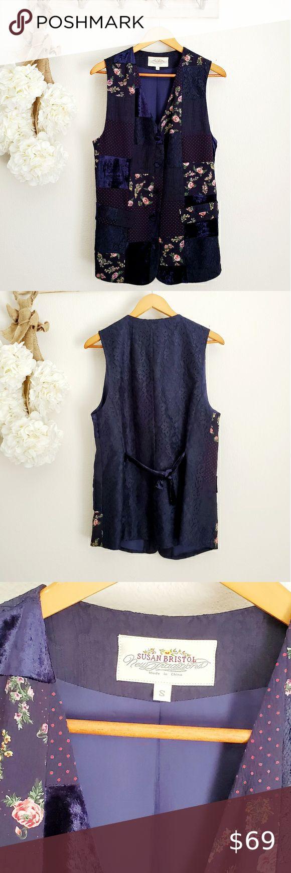 V I N T A G E 90s Susan Bristol Blue Velvet Vest Fashion Clothes Design Fashion Tips [ 1740 x 580 Pixel ]