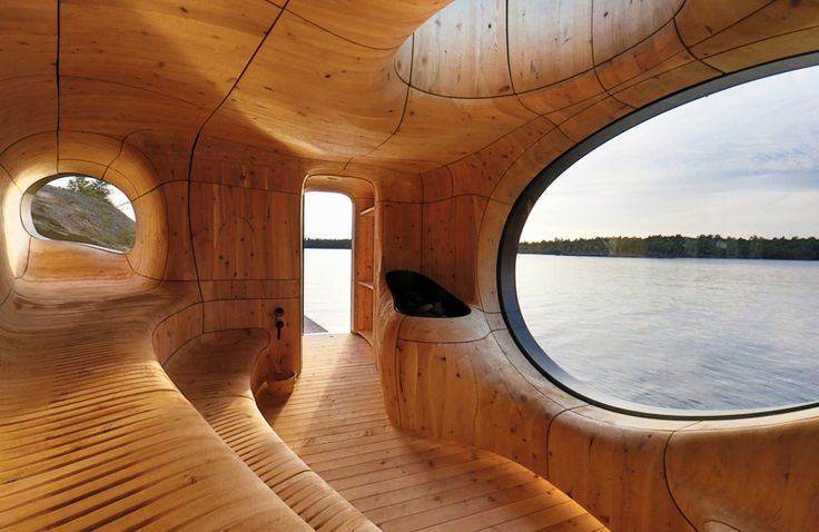 partisans' grotto sauna in canada features bold sculptural forms
