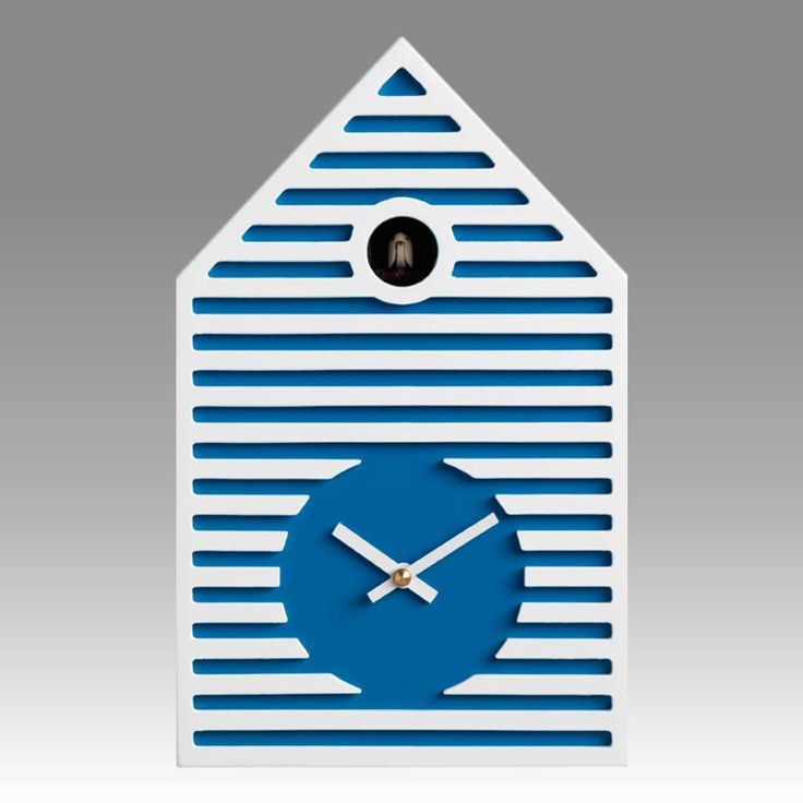 Contemporary cuckoo clock Art.beach 2597 lacquered with acrilic color blue