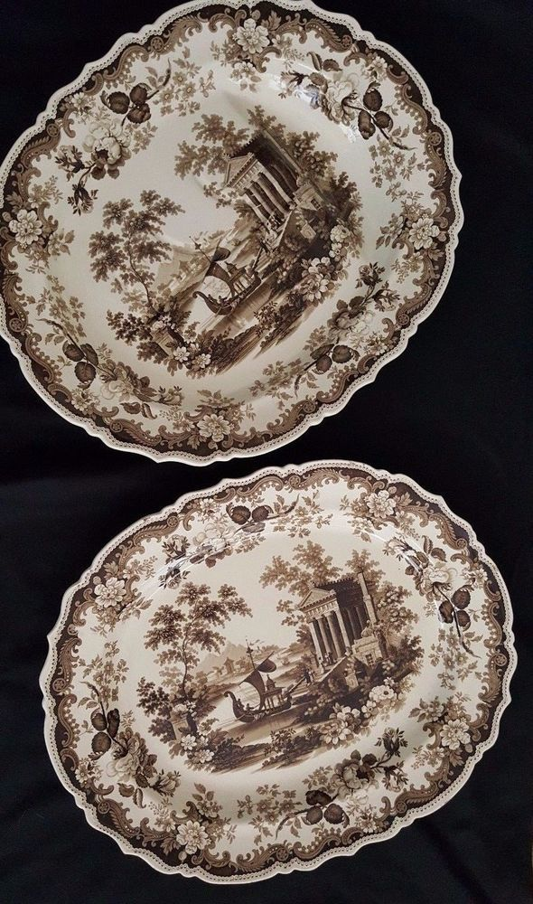 "antique English Rodgers ""Athens"" pattern two large platters circa 1840 #Rodgers"