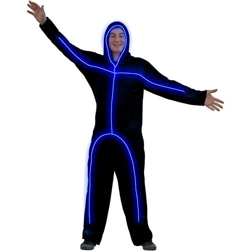 Light Up Blue Stick Figure Adult Halloween Costume
