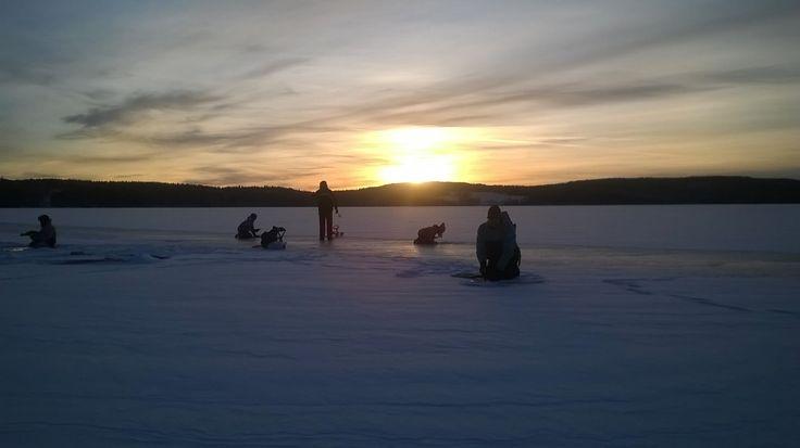 winter activity, ice fishing, half a day at the lake Grundrämmen, start byTyngsjö Vildmark, Dalarna, Sweden