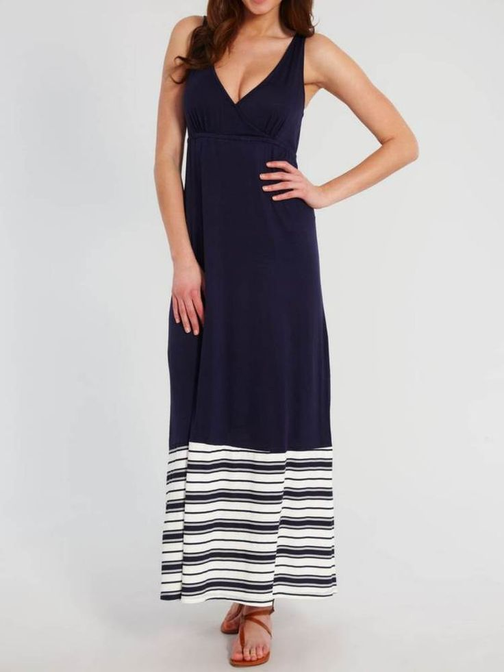 New Navy Blue Jersey Maxi Dress Size XL Coverup Fantasie Biarritz Long Beachwear
