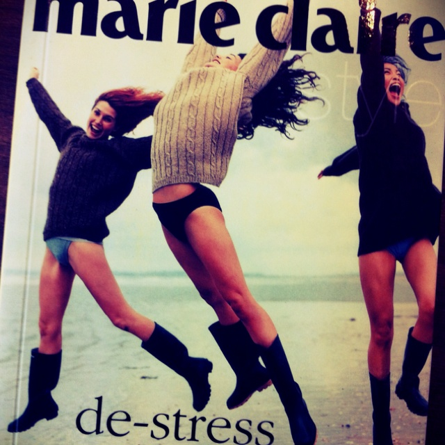 Marie Claire 'De-Stress' by Jane Campsie (found in a second hand book shop). Not sure why they're in their jerseys, undies & boots jumping around on the beach...: Book Shop, On The Beach