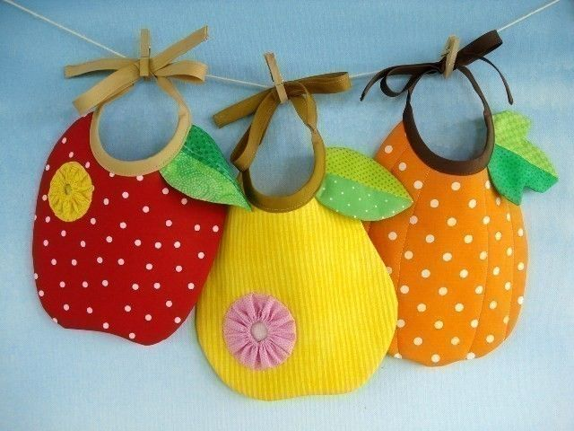 SALE - PDF ePattern for Apple, Pear and Pumpkin Baby Bib Sewing Pattern.