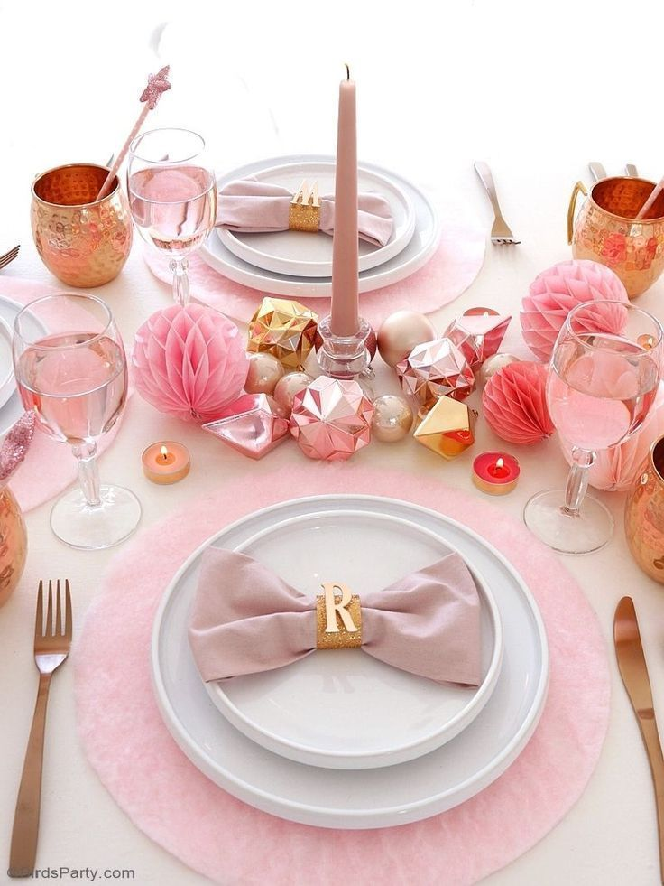 My Pink Copper Christmas Party In 2020 Pink Christmas Table Decor Copper Christmas Christmas Dinner Party