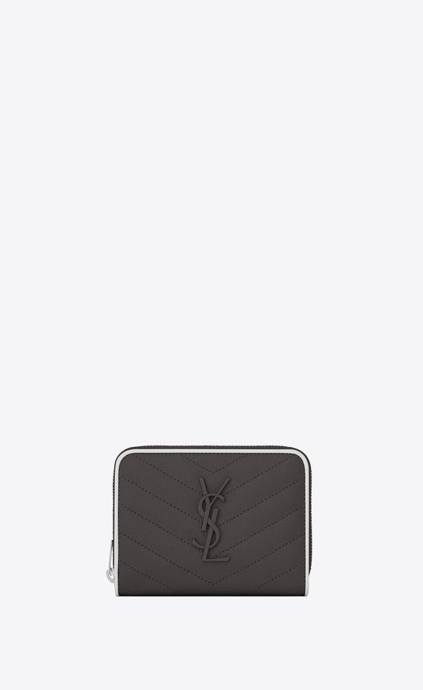 6688943eea SAINT LAURENT Monogram Matelassé Woman compact zip around wallet in ...