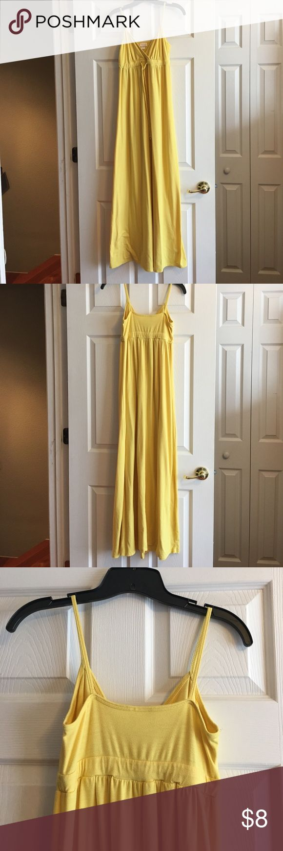 Mossimo Yellow Maxi Dress Yellow maxi. Floor length. Ties at high waist (empire waist). Spaghetti straps. Size small. Mossimo Supply Co Dresses Maxi