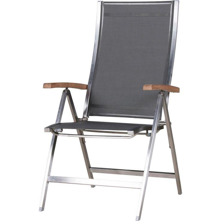 Cool One Sessel Zebra M bel Gartenm bel taupe One Gartensessel Klappsessel Teakarmlehnen Edelstahlgestell hochwertige Textilenbespannung in