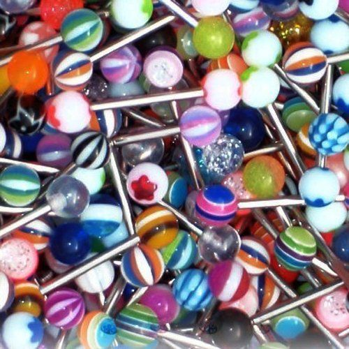 Tongue Ring Lot 20, 50, 100 Assorted Tongue Rings Surgical Steel 14 Gauge - Choose Your Lot - http://www.jewelryfashionlife.com/tongue-ring-lot-20-50-100-assorted-tongue-rings-surgical-steel-14-gauge-choose-your-lot/