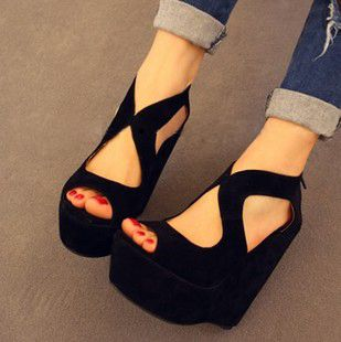 Hot dressed in dressed in 2012 Summer magazine Japanese fish mouth shoes wedges platform shoes high heels Sandals Womens shoes Item's description