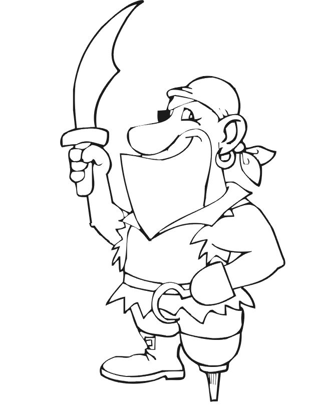 pirate coloring page with wooden leg hook hand and sword