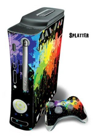 Protective Skin Decal Cover for Xbox 360 Console + two Xbox 360 Controllers Sticker - Splatter