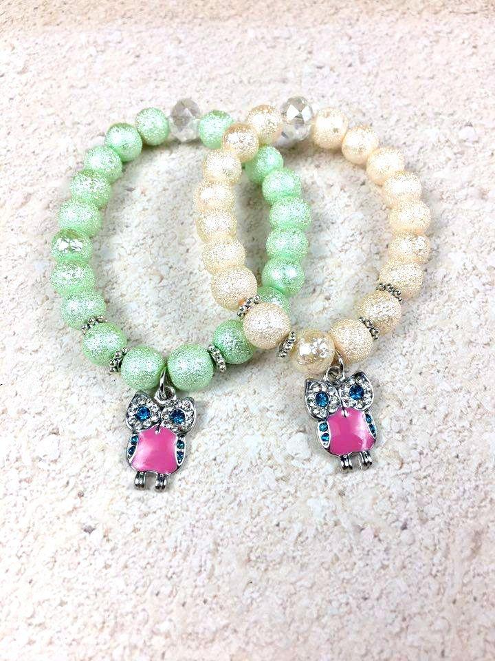 Owl Stretchy Bracelet - Kids Beaded Bracelet - Girls Bracelet - Owl Charm Bracelet - Girls Accessories - Children Jewelry - Birthday Gift
