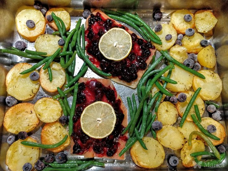 Salmon Fillets with Blueberries