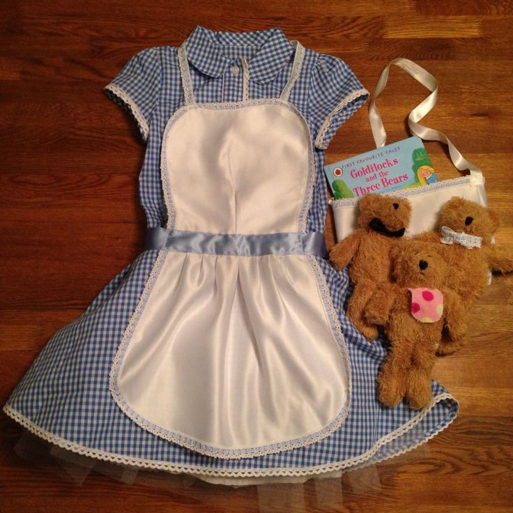 Goldilocks and the Three Bears costume for World Book Day. Hand made apron and bag. Accessorised dress and bears. Handmade by @Davina Anglemyer eatonbanks and me.