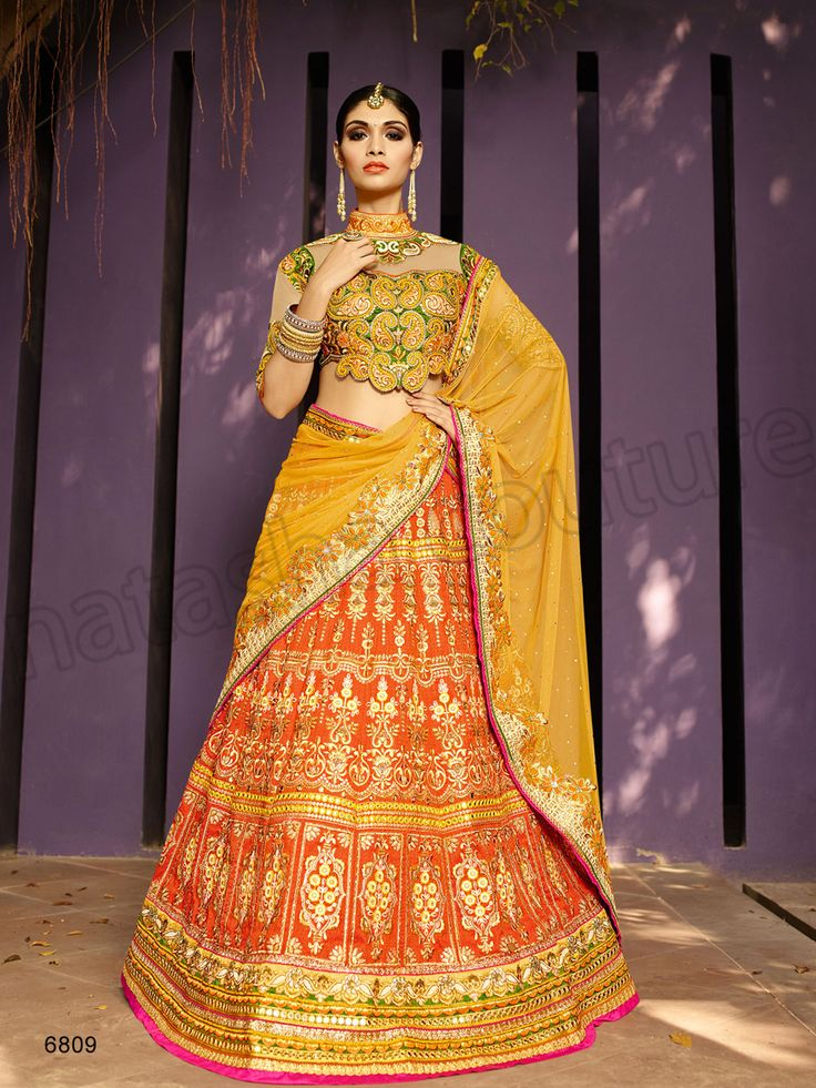 #Designer Lehenga Choli#Orange & Yellow#Indian Wear#Desi Fashion #Natasha Couture #Indian Ethnic Wear #Bridal Wear #Wedding Wear
