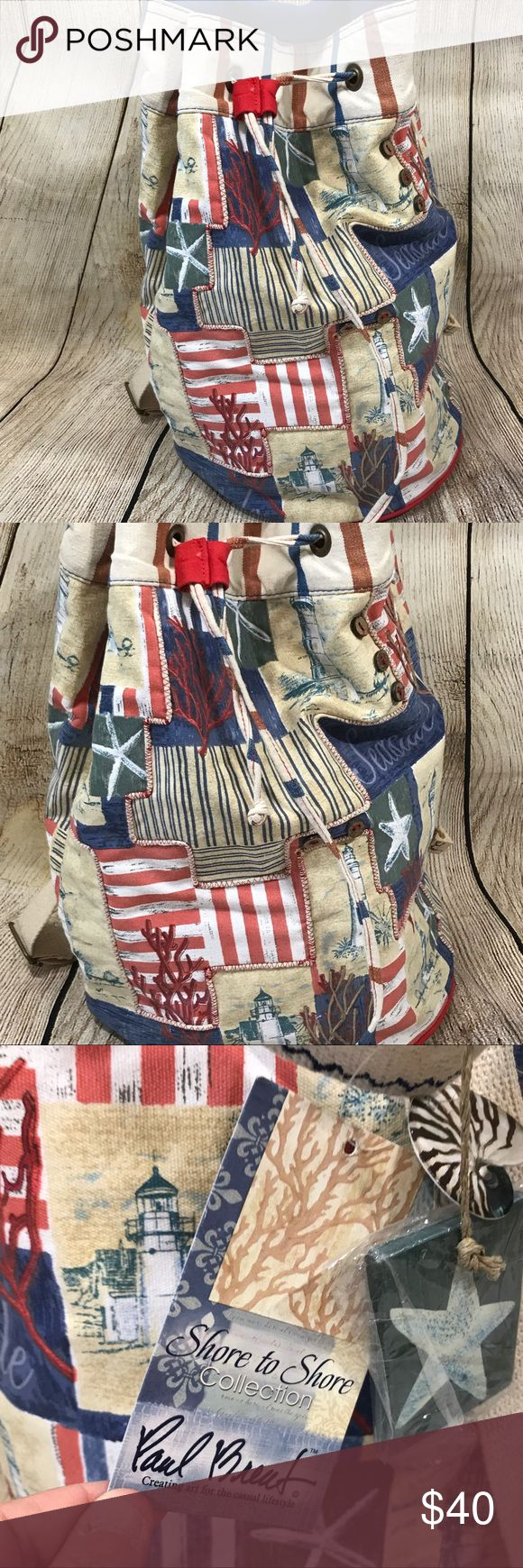 Paul Brent Shore to Shore Collection Nautical Bag Paul Brent Shore to Shore Collection Nautical Lighthouse Single Strap Backpack  Adjustable Strap. Zippered pouch inside Great for Beach, Back to School or Backpacking.  New With Tags Paul Brent Bags Backpacks