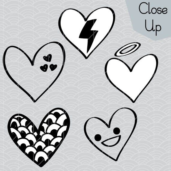 Hearts Outline Clip Art Hand Drawn Romance Vector Doodles Scribble Heart Illustration Bundle Png Eps Pdf Svg Dxf How To Draw Hands Valentine Doodle Art Bundle