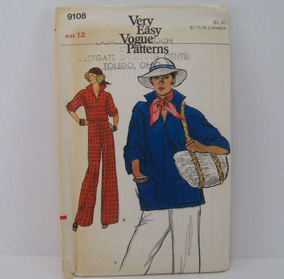 Retro1970s Vogue Pattern 9108 Top and Pants by SewingPatternsPast, $8.50
