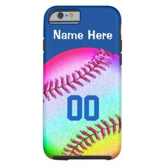 iPhone 6 Softball Case with Your Personalized with YOUR COLORS and TEXT. http://giftsforcreativepeople.com/softball-phone-cases-for-girls/ Quality name brand cases from Barely There to Extreme Tough iPhone 6 Cases for Girls and Softball Lovers. See many m