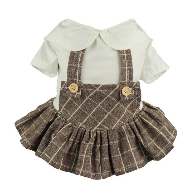 Fitwarm Adorable Plaid Pet Clothes Dog Overalls Dress Shirts Cat Apparel - Brown