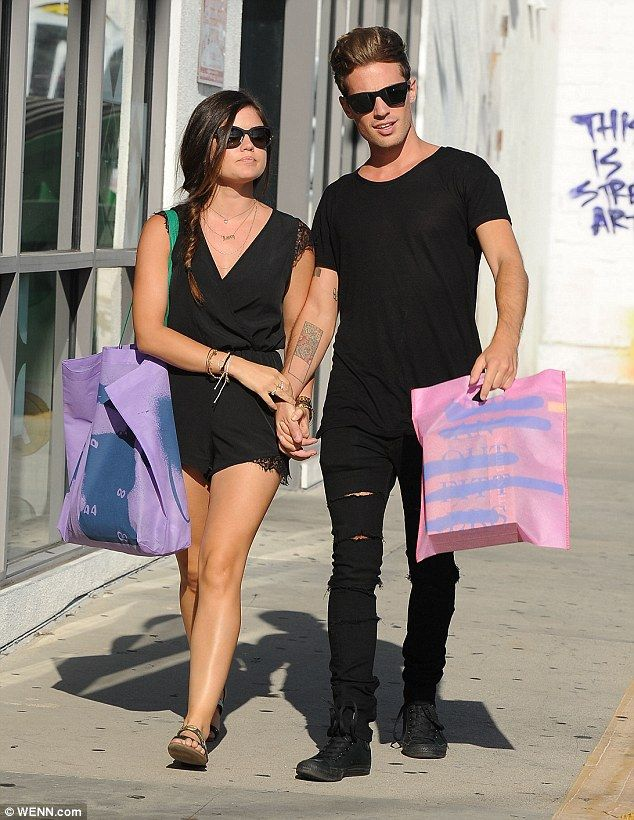 Perfect pair: Pretty Little Liars star Lucy Hale and Lawson drummer Adam Pitts were pictured out in public for the first time over the weekend, doing a spot of shopping in Los Angeles