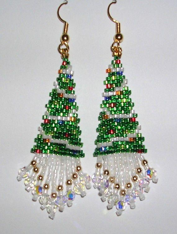 592 Best Beading Earrings Etc Images On Pinterest Beads  - Make Christmas Tree Earrings