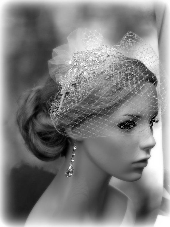 Bridal Veil set,  Crystal bridal Headpiece, Wedding Veil and  Birdcage Fascinator, Wedding hair accessories on Etsy, $65.95