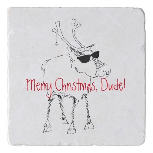 Merry Christmas Sketchy Reindeer with Sunglasses Coaster