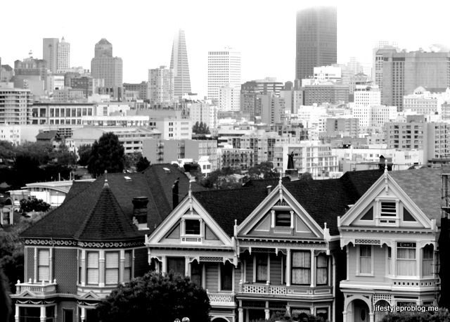 Painted Ladies in San Francisco in Black and White