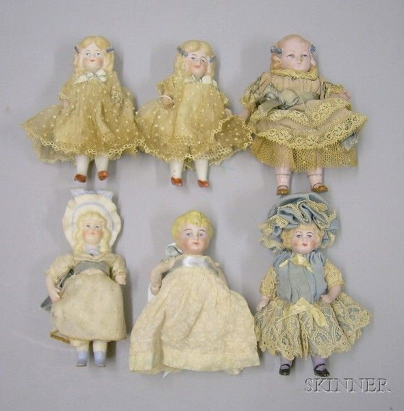 Six Small All-Bisque Dolls with Molded Hair | Sale Number 2419, Lot Number 997 | Skinner Auctioneers